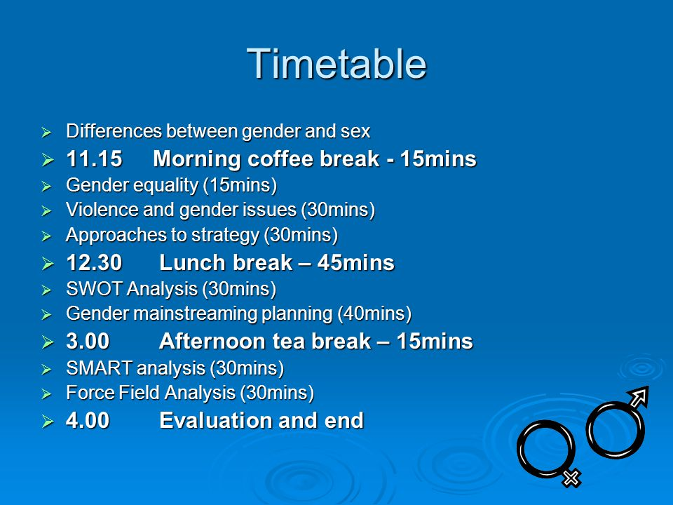 Timetable  Differences between gender and sex  11.15 Morning coffee break - 15mins  Gender equality (15mins)  Violence and gender issues (30mins)  Approaches to strategy (30mins)  12.30 Lunch break – 45mins  SWOT Analysis (30mins)  Gender mainstreaming planning (40mins)  3.00 Afternoon tea break – 15mins  SMART analysis (30mins)  Force Field Analysis (30mins)  4.00 Evaluation and end