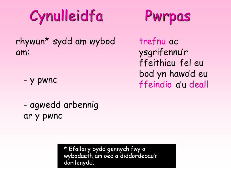 Cynulleidfa rhywun* sydd am wybod am: - y pwnc - agwedd arbennig ar y pwnc * Efallai y bydd gennych fwy o wybodaeth am oed a diddordebau'r darllenydd.