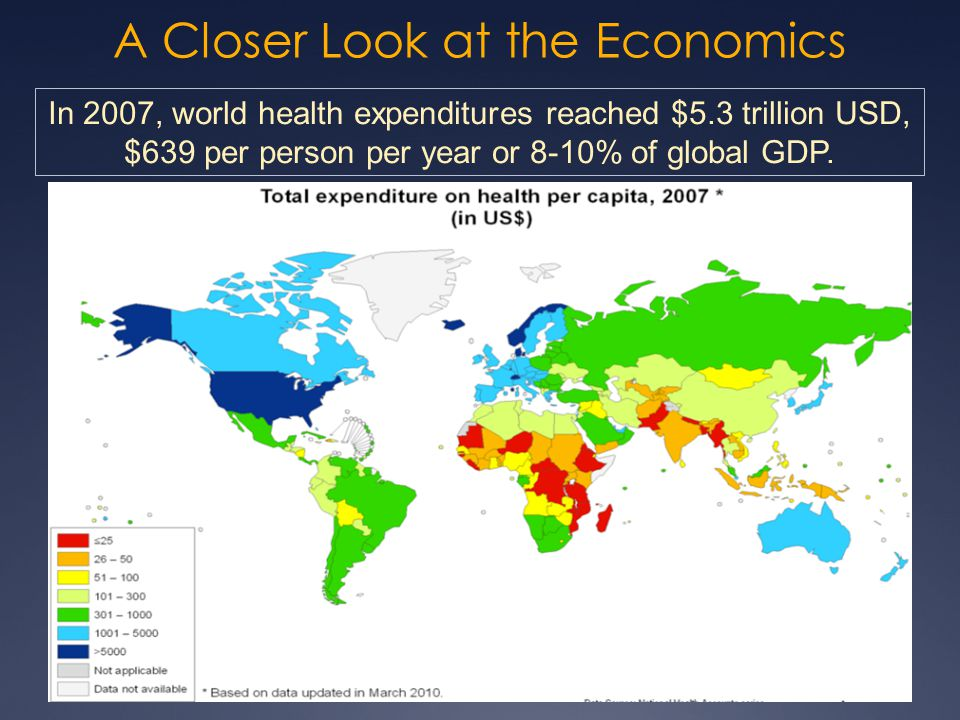 A Closer Look at the Economics 19 In 2007, world health expenditures reached $5.3 trillion USD, $639 per person per year or 8-10% of global GDP.