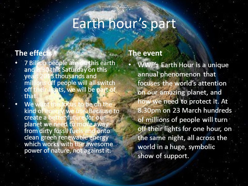 Earth hour's part The effects 7 Billion people are on this earth and 8:30 this Saturday on this year: 2013 thousands and millions off people will all switch off their lights, we will be part of that.
