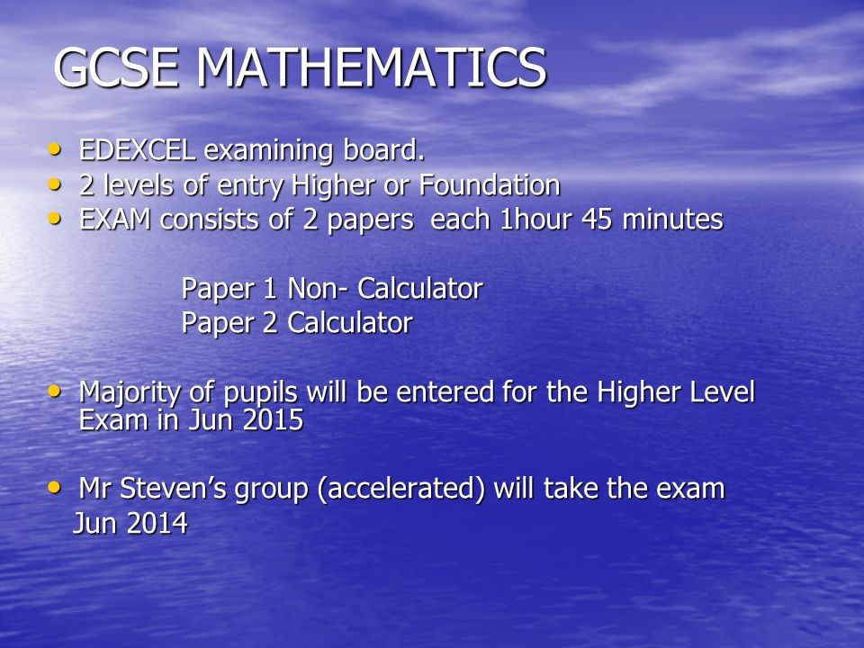 GCSE MATHEMATICS EDEXCEL examining board. EDEXCEL examining board.
