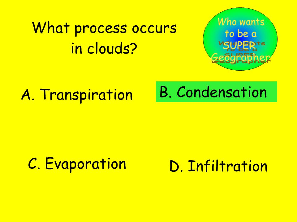 What process occurs in clouds. A. Transpiration B.