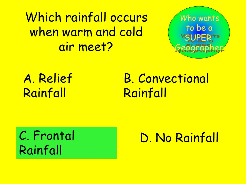 Which rainfall occurs when warm and cold air meet.