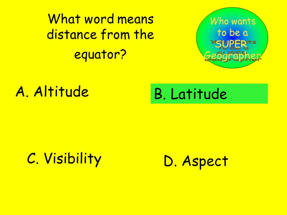 What word means distance from the equator. A. Altitude B.