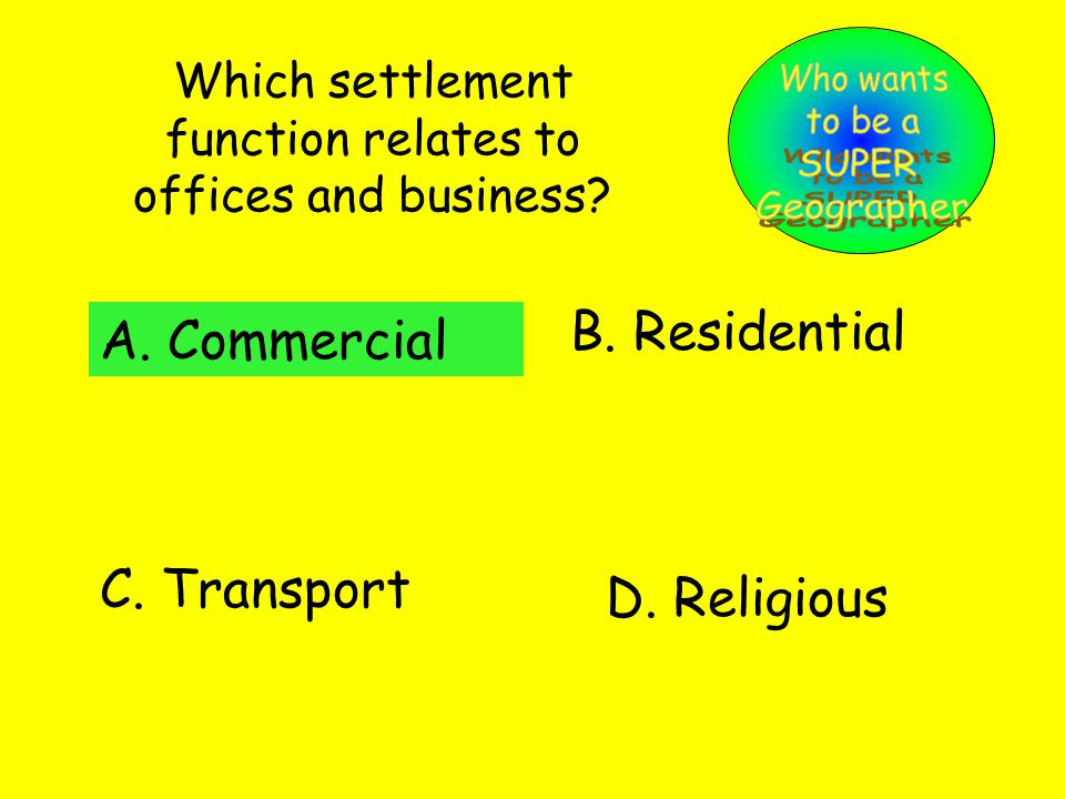 Which settlement function relates to offices and business.