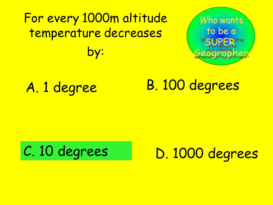 For every 1000m altitude temperature decreases by: A.