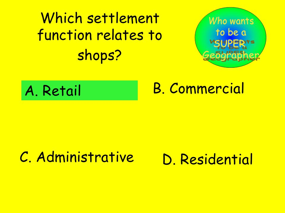Which settlement function relates to shops. A. Retail B.