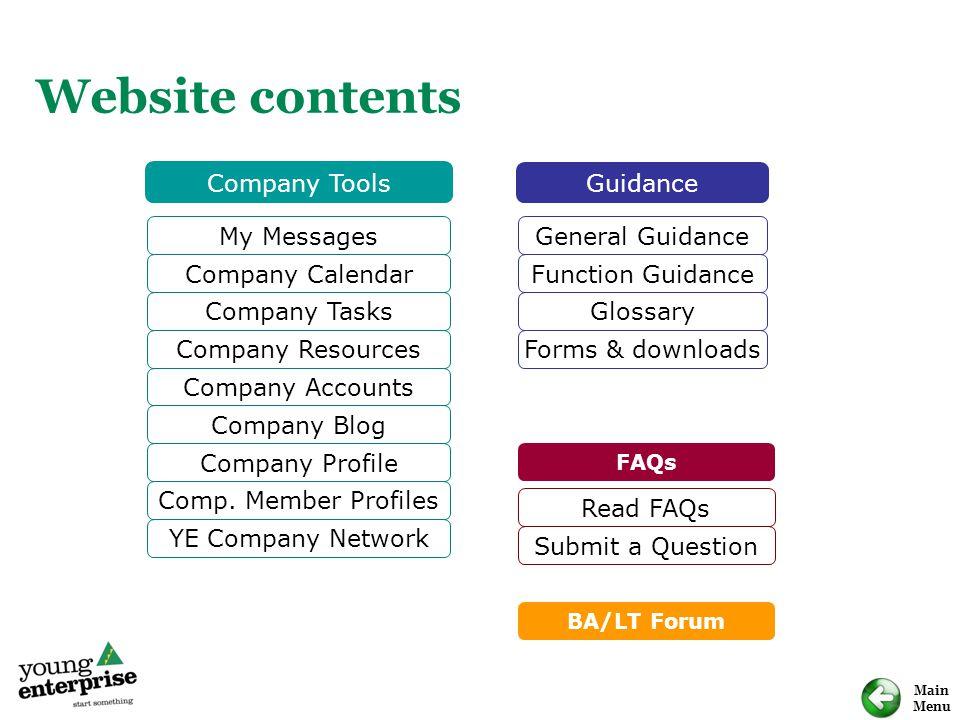 Main Menu Website contents My Messages Company Calendar Company Tasks Company Resources Company Blog Company Profile Comp.