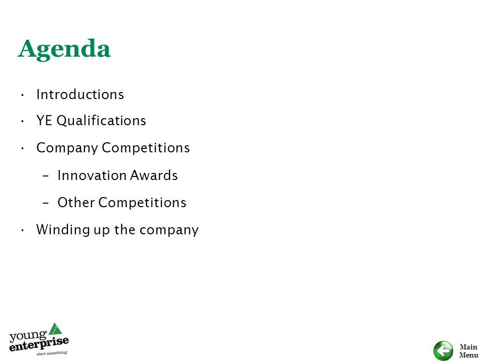 Main Menu Agenda Introductions YE Qualifications Company Competitions –Innovation Awards –Other Competitions Winding up the company
