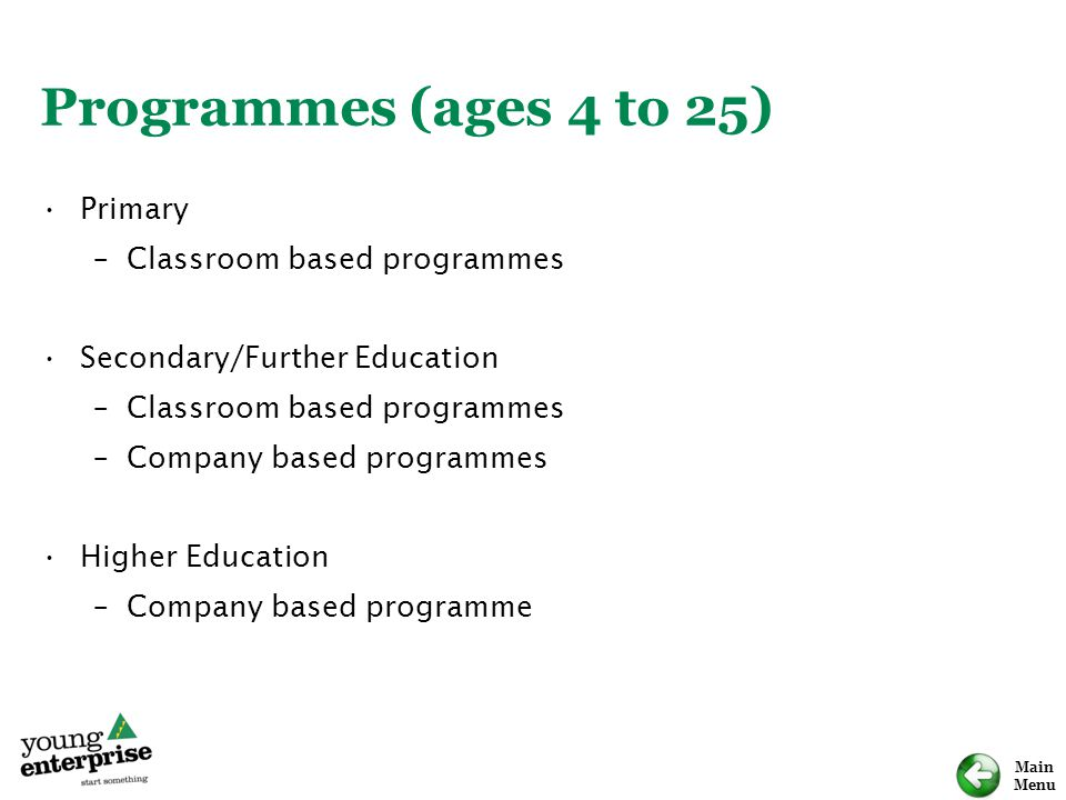 Main Menu Programmes (ages 4 to 25) Primary –Classroom based programmes Secondary/Further Education –Classroom based programmes –Company based program