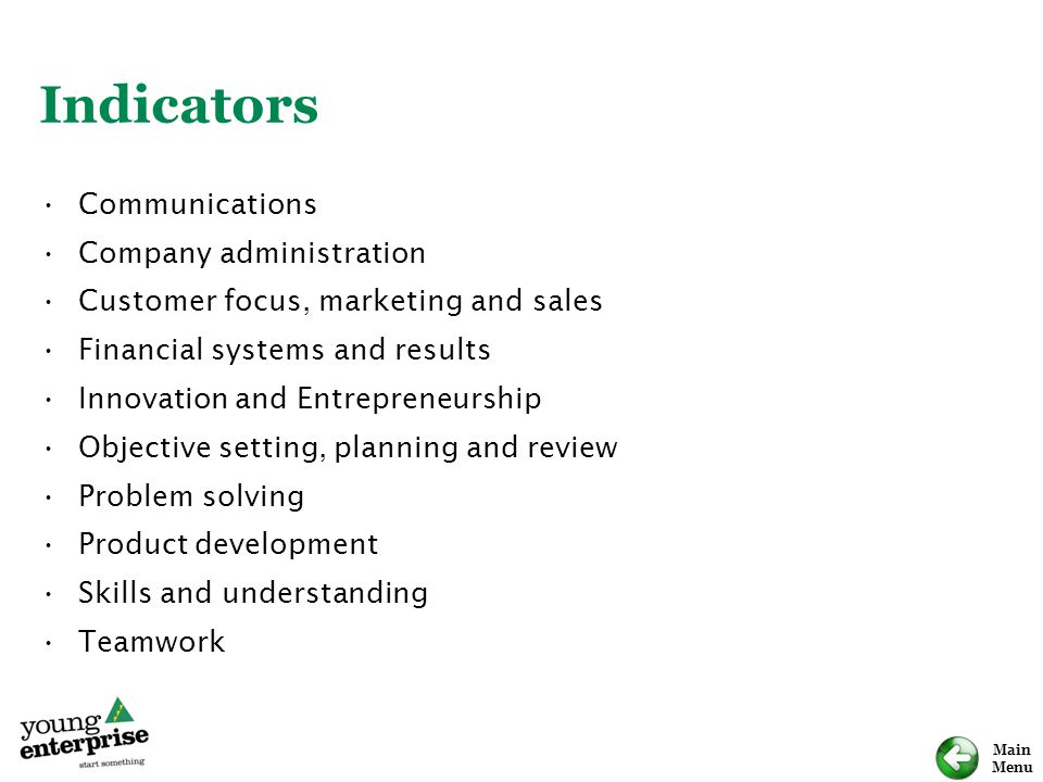 Main Menu Indicators Communications Company administration Customer focus, marketing and sales Financial systems and results Innovation and Entrepreneurship Objective setting, planning and review Problem solving Product development Skills and understanding Teamwork