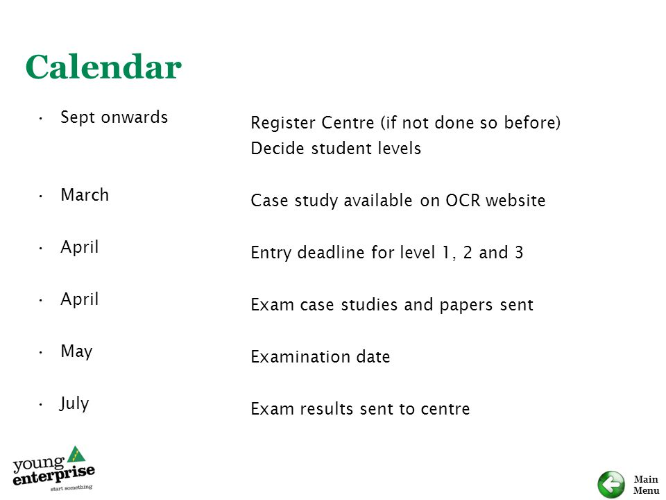 Main Menu Sept onwards March April May July Register Centre (if not done so before) Decide student levels Case study available on OCR website Entry de