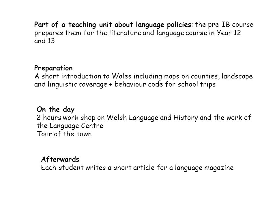 Part of a teaching unit about language policies: the pre-IB course prepares them for the literature and language course in Year 12 and 13 Preparation A short introduction to Wales including maps on counties, landscape and linguistic coverage + behaviour code for school trips On the day 2 hours work shop on Welsh Language and History and the work of the Language Centre Tour of the town Afterwards Each student writes a short article for a language magazine