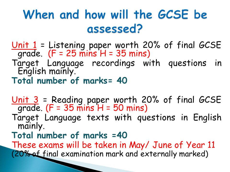 Unit 1 = Listening paper worth 20% of final GCSE grade.