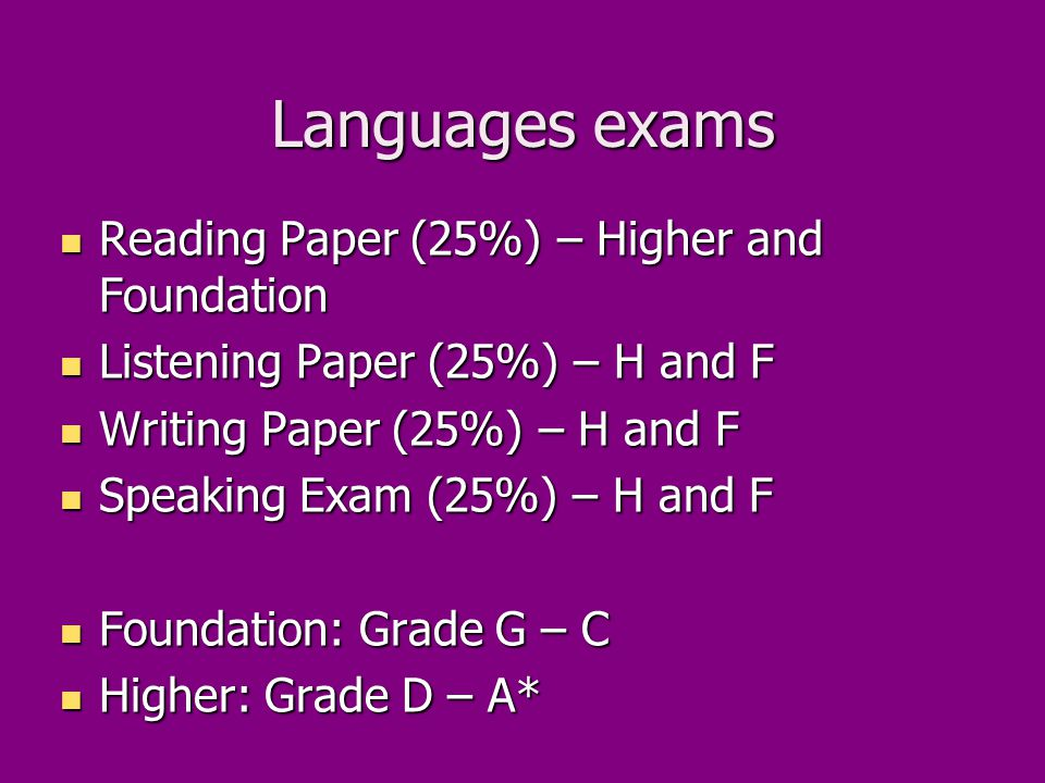 Languages exams Reading Paper (25%) – Higher and Foundation Reading Paper (25%) – Higher and Foundation Listening Paper (25%) – H and F Listening Paper (25%) – H and F Writing Paper (25%) – H and F Writing Paper (25%) – H and F Speaking Exam (25%) – H and F Speaking Exam (25%) – H and F Foundation: Grade G – C Foundation: Grade G – C Higher: Grade D – A* Higher: Grade D – A*