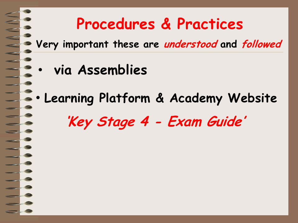 Procedures & Practices Learning Platform & Academy Website 'Key Stage 4 - Exam Guide' Very important these are understood and followed via Assemblies