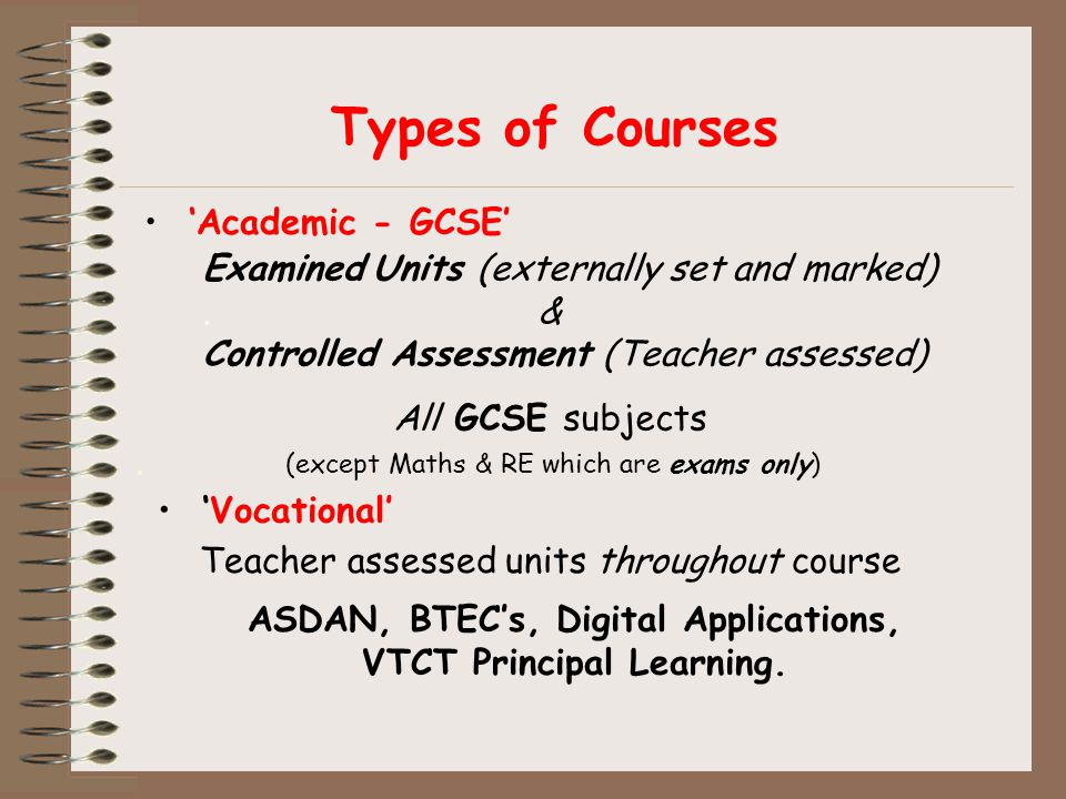 Types of Courses 'Academic - GCSE' Examined Units (externally set and marked).