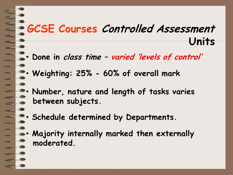 GCSE Courses Controlled Assessment.Units Schedule determined by Departments.