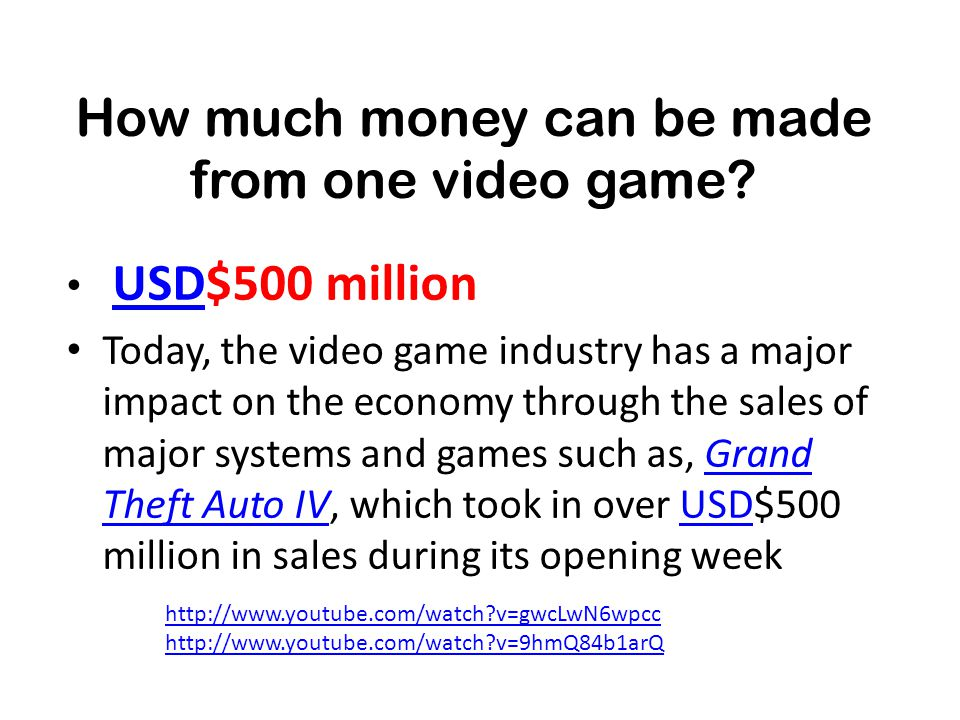 How much money can be made from one video game.