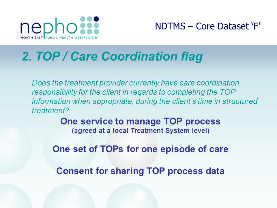 NDTMS – Core Dataset 'F' 2. TOP / Care Coordination flag Does the treatment provider currently have care coordination responsibility for the client in