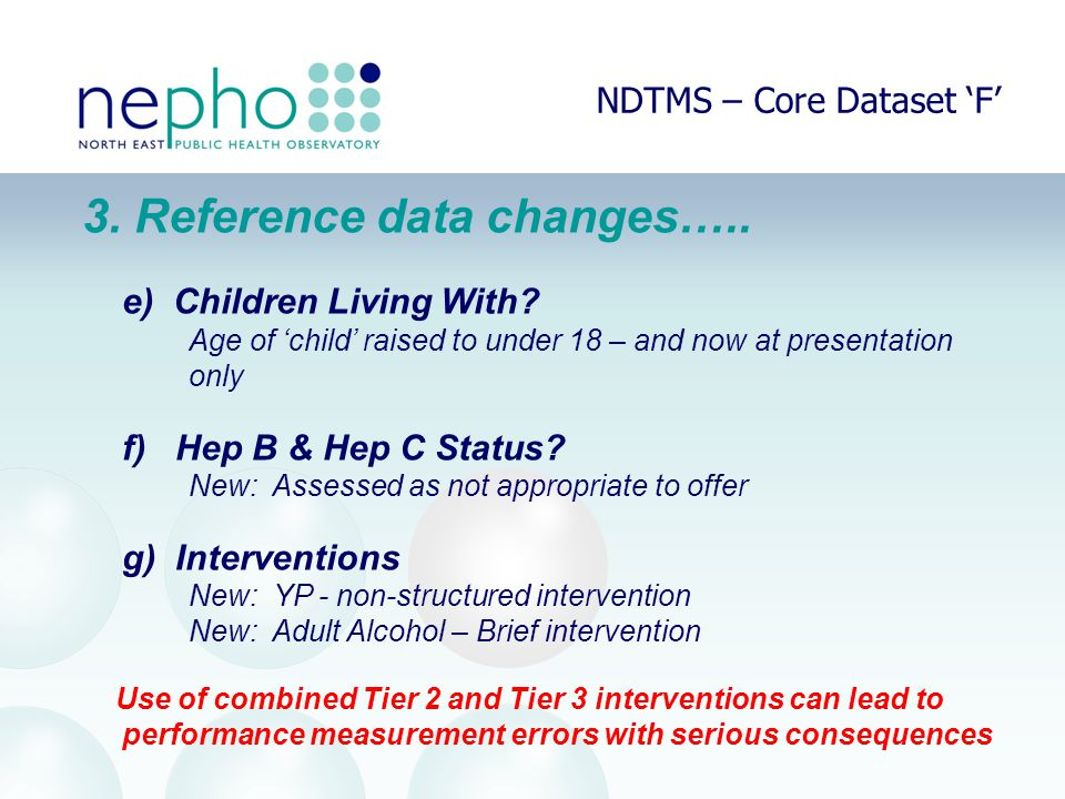 NDTMS – Core Dataset 'F' 3. Reference data changes…..