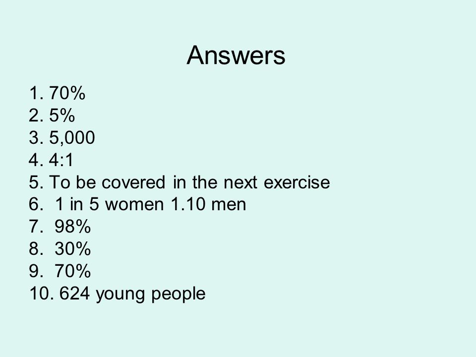 Answers 1. 70% 2. 5% 3. 5,000 4. 4:1 5. To be covered in the next exercise 6.