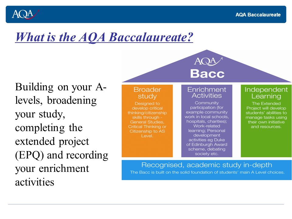 AQA Baccalaureate Students are free to study any of your chosen A-level subjects.
