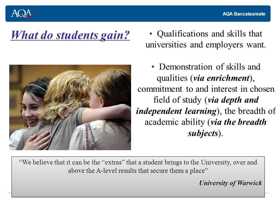 AQA Baccalaureate What do students gain.