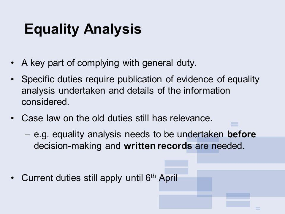 Equality Analysis A key part of complying with general duty.
