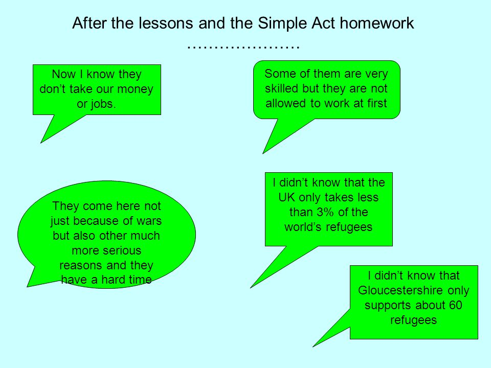 After the lessons and the Simple Act homework ………………… Now I know they don't take our money or jobs.