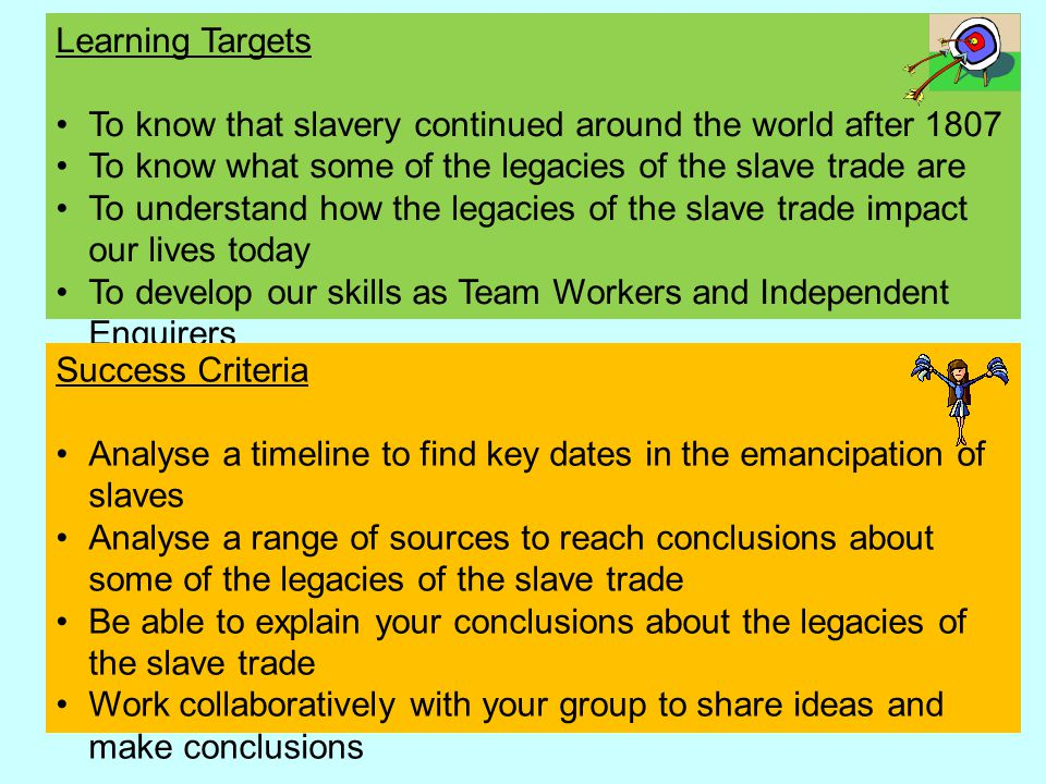 Learning Targets To know that slavery continued around the world after 1807 To know what some of the legacies of the slave trade are To understand how the legacies of the slave trade impact our lives today To develop our skills as Team Workers and Independent Enquirers Success Criteria Analyse a timeline to find key dates in the emancipation of slaves Analyse a range of sources to reach conclusions about some of the legacies of the slave trade Be able to explain your conclusions about the legacies of the slave trade Work collaboratively with your group to share ideas and make conclusions