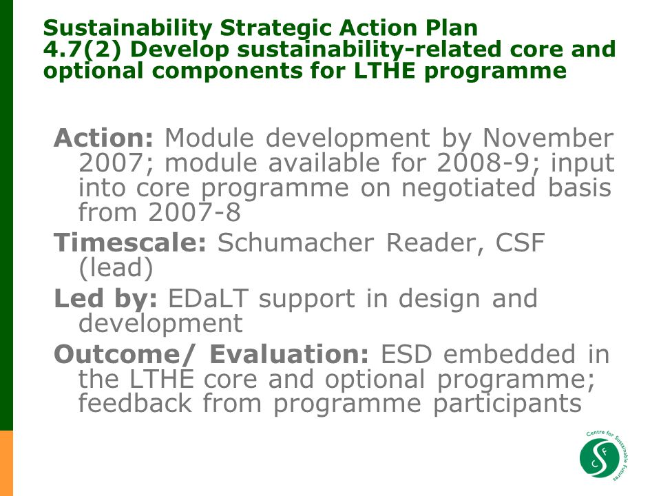 Sustainability Strategic Action Plan 4.7(2) Develop sustainability-related core and optional components for LTHE programme Action: Module development by November 2007; module available for 2008-9; input into core programme on negotiated basis from 2007-8 Timescale: Schumacher Reader, CSF (lead) Led by: EDaLT support in design and development Outcome/ Evaluation: ESD embedded in the LTHE core and optional programme; feedback from programme participants