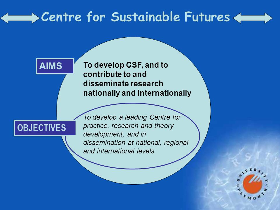 Centre for Sustainable Futures AIMS To develop CSF, and to contribute to and disseminate research nationally and internationally OBJECTIVES To develop a leading Centre for practice, research and theory development, and in dissemination at national, regional and international levels