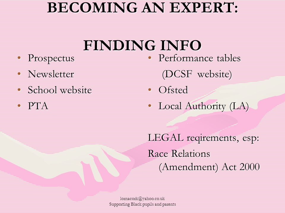 lornacork@yahoo.co.uk Supporting Black pupils and parents BECOMING AN EXPERT: FINDING INFO ProspectusProspectus NewsletterNewsletter School websiteSchool website PTAPTA Performance tables (DCSF website) Ofsted Local Authority (LA) LEGAL reqirements, esp: Race Relations (Amendment) Act 2000