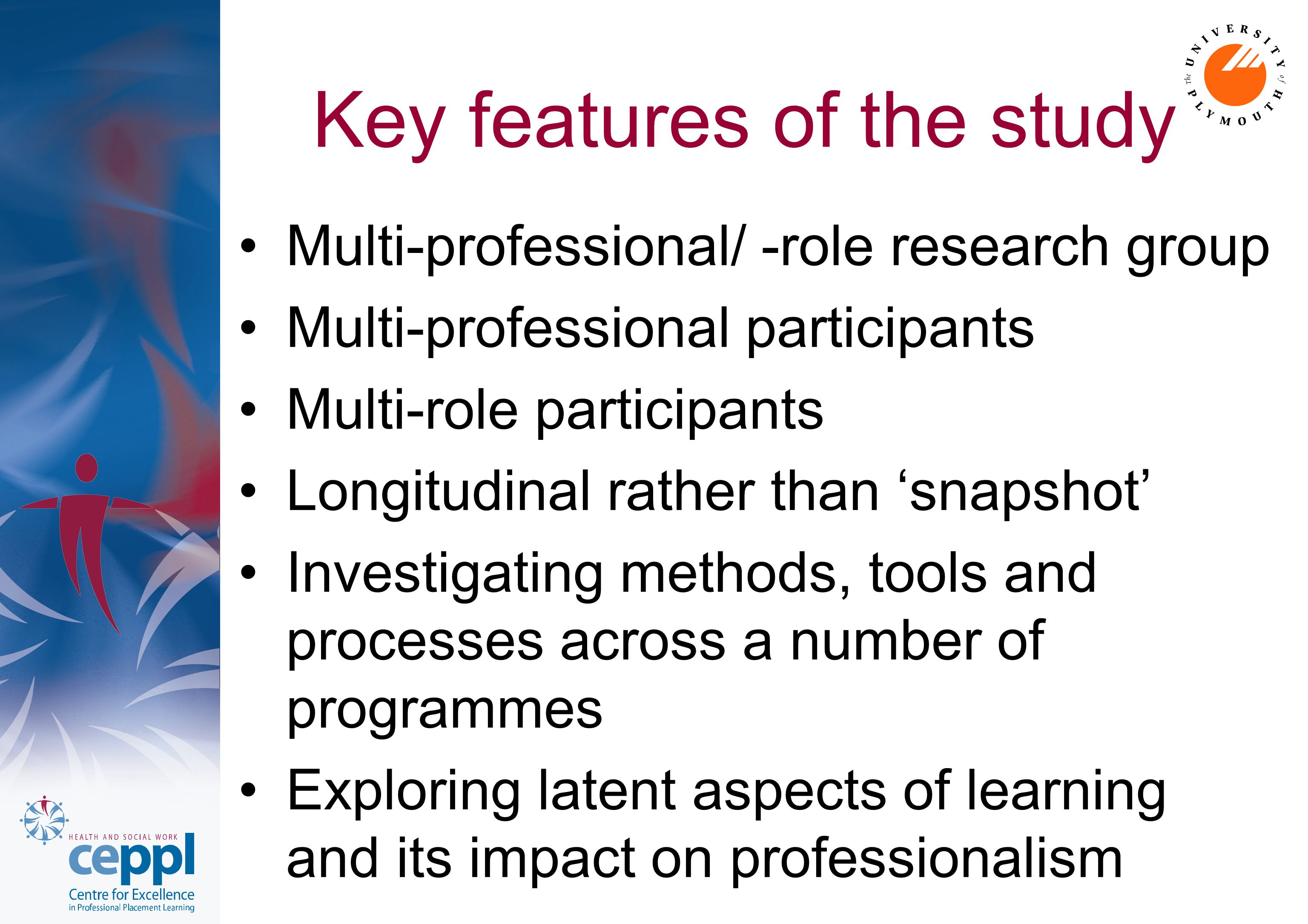 Key features of the study Multi-professional/ -role research group Multi-professional participants Multi-role participants Longitudinal rather than 's