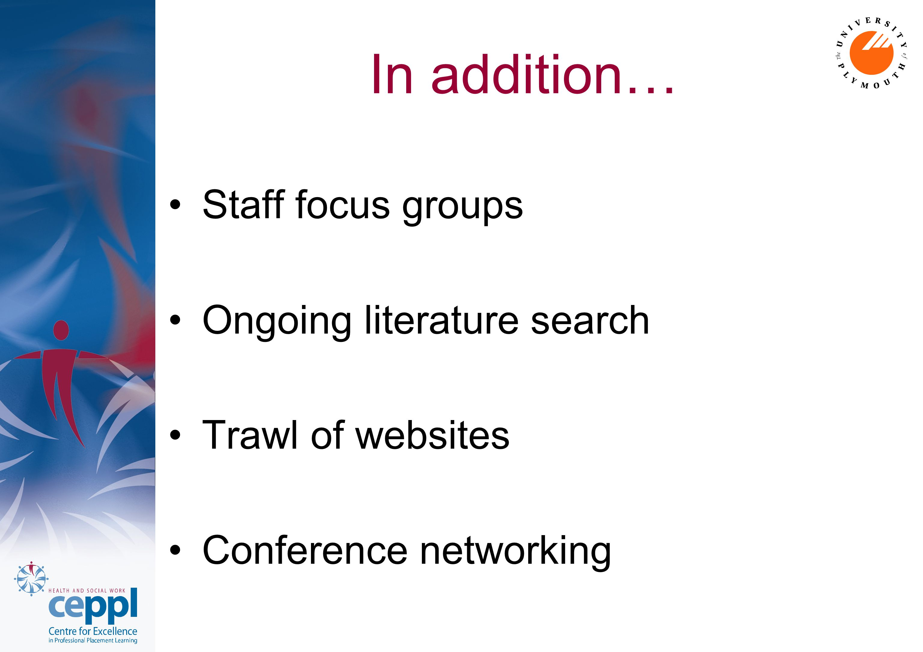 In addition… Staff focus groups Ongoing literature search Trawl of websites Conference networking