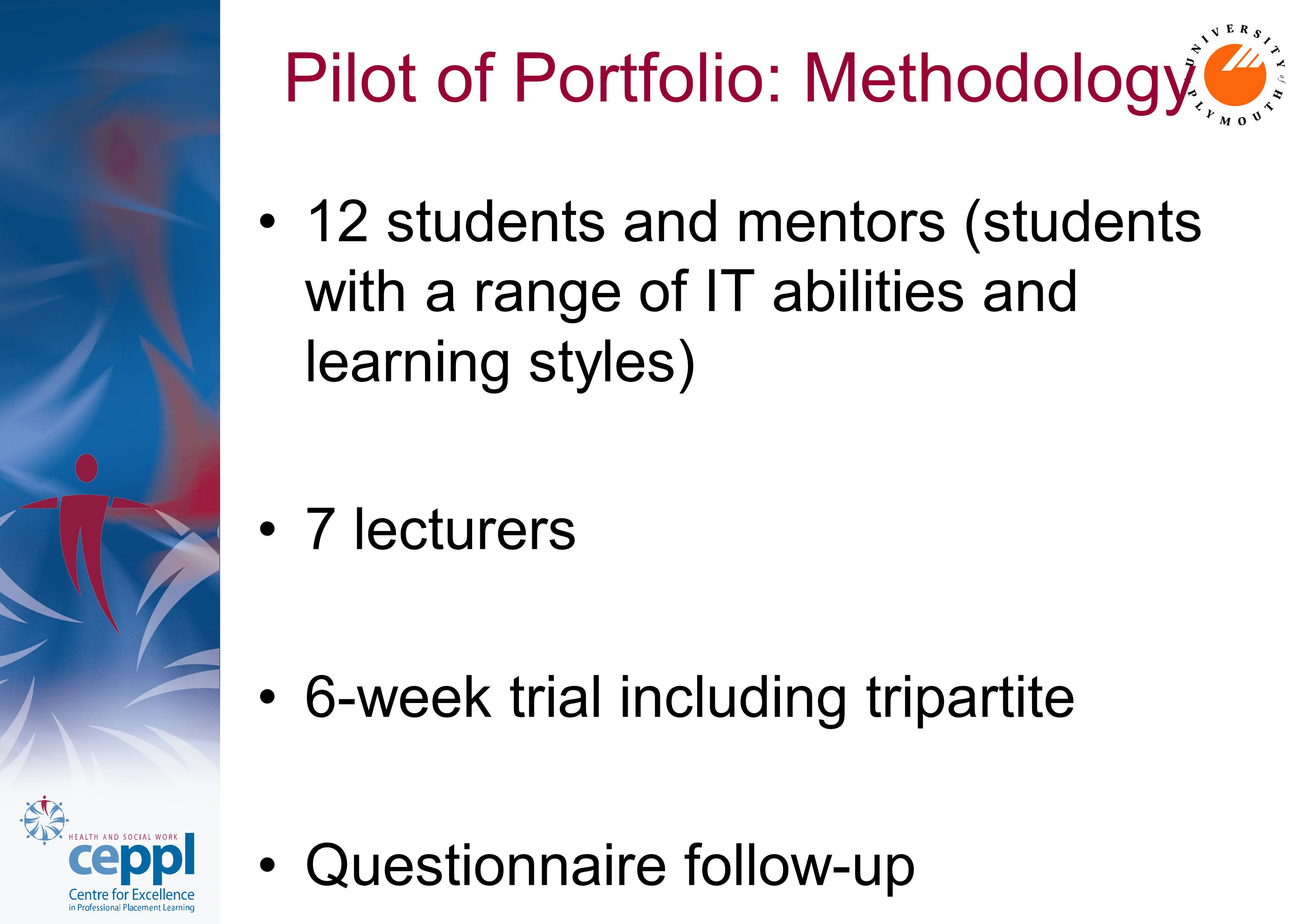 Pilot of Portfolio: Methodology 12 students and mentors (students with a range of IT abilities and learning styles) 7 lecturers 6-week trial including tripartite Questionnaire follow-up