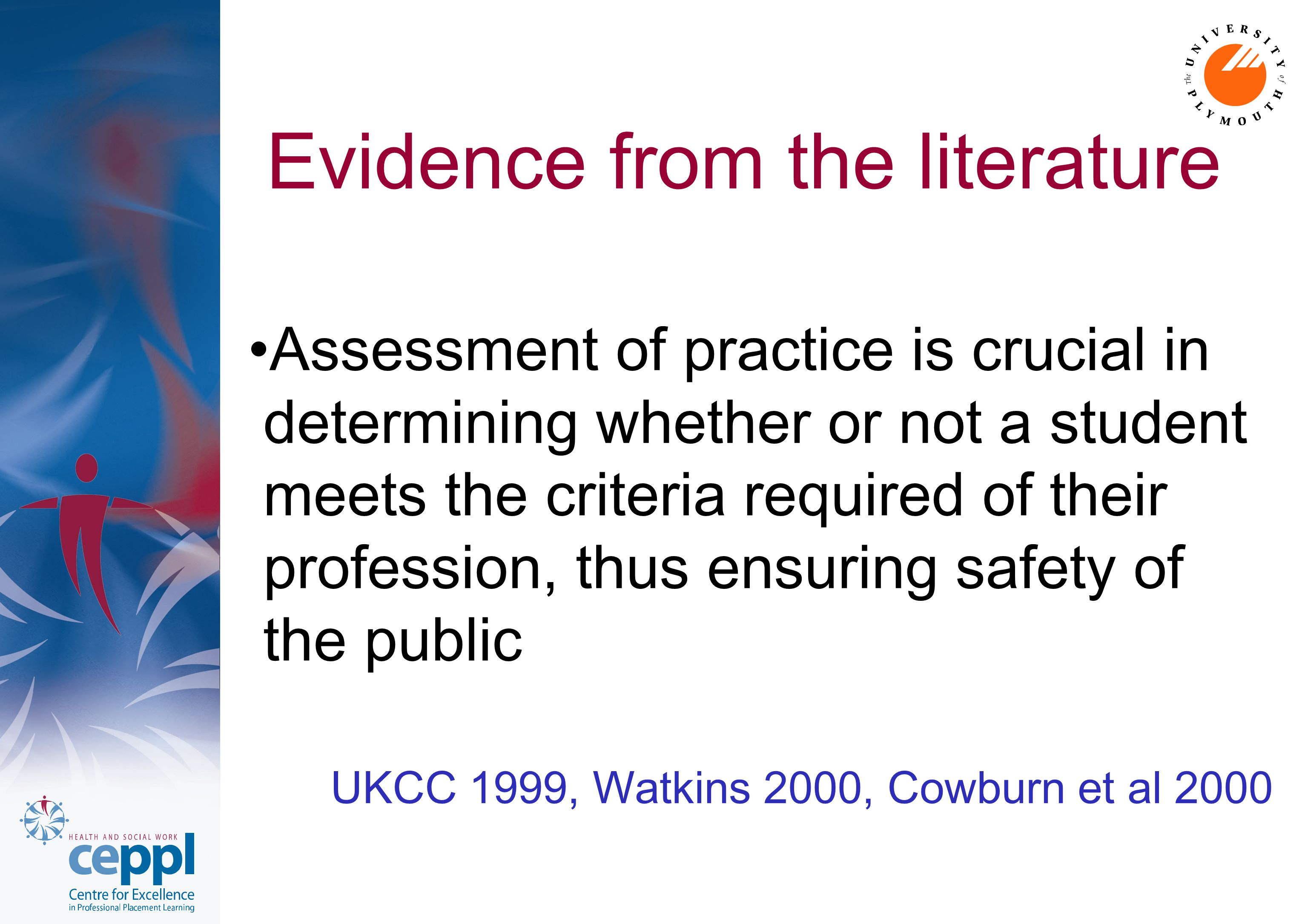 Defining competence has long been a challenge Cowan et al 2005 Efforts to 'measure' competence and professional abilities have resulted in a wide variety of methods of assessment Baume and Yorke 2002, McMullan et al 2003 The student may also be required to fulfil set criteria or outcomes and practice may be graded Caraccio and Englander 2004, Slater and Boulet 2001