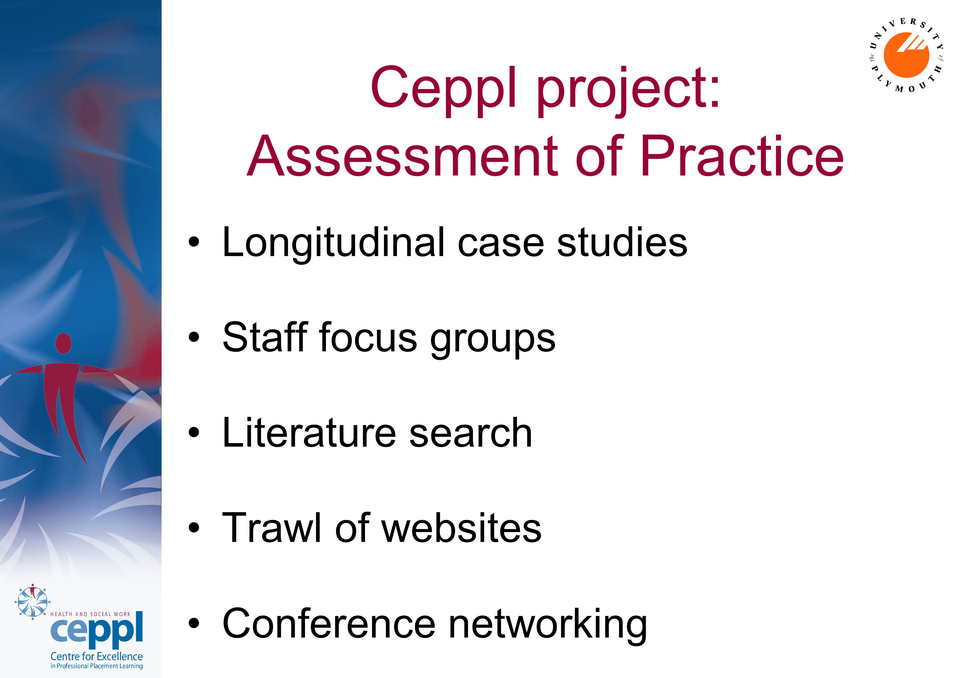 Ceppl project: Assessment of Practice Longitudinal case studies Staff focus groups Literature search Trawl of websites Conference networking