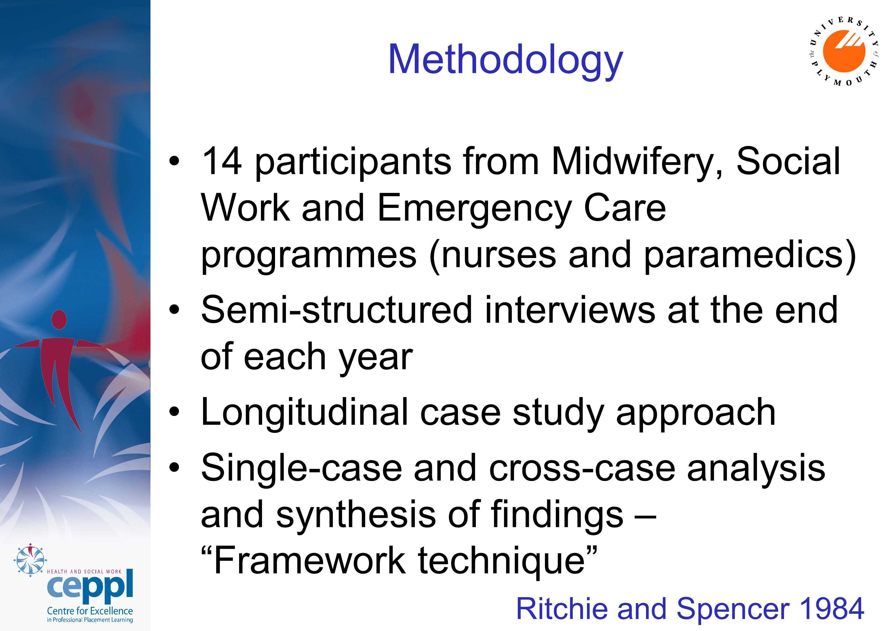 Methodology 14 participants from Midwifery, Social Work and Emergency Care programmes (nurses and paramedics) Semi-structured interviews at the end of each year Longitudinal case study approach Single-case and cross-case analysis and synthesis of findings – Framework technique Ritchie and Spencer 1984