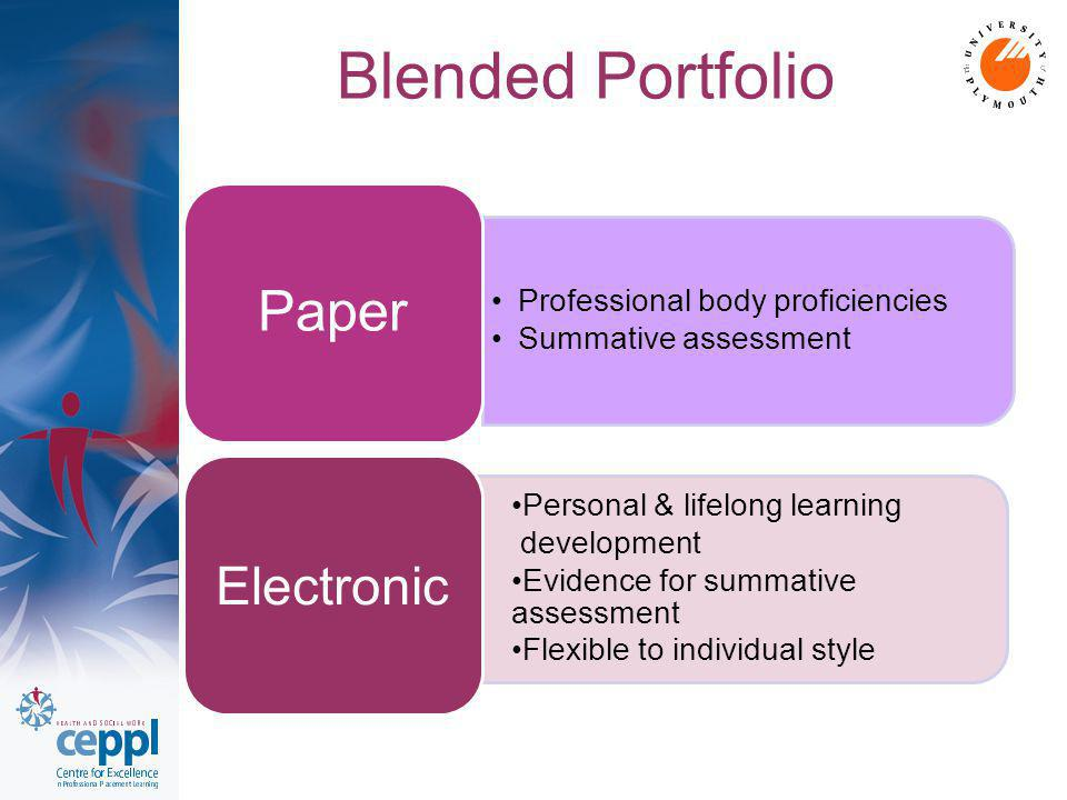 Blended Portfolio Professional body proficiencies Summative assessment Paper Personal & lifelong learning development Evidence for summative assessment Flexible to individual style Electronic