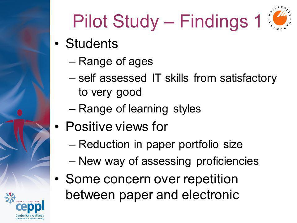 Pilot Study – Findings 1 Students –Range of ages –self assessed IT skills from satisfactory to very good –Range of learning styles Positive views for