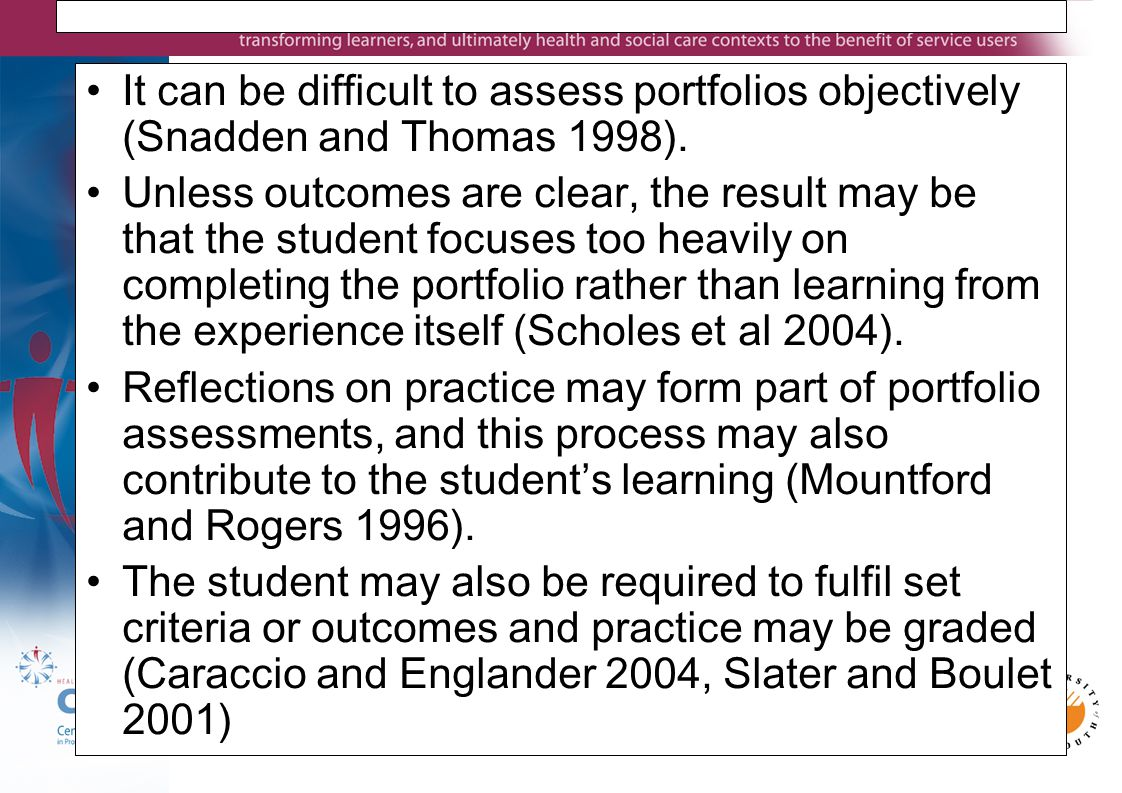 It can be difficult to assess portfolios objectively (Snadden and Thomas 1998).