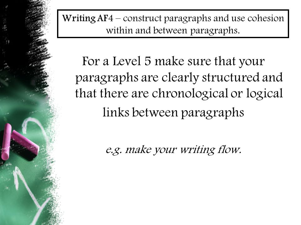 Writing AF4 – construct paragraphs and use cohesion within and between paragraphs.