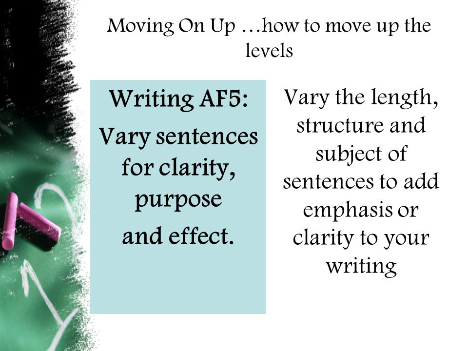 Moving On Up …how to move up the levels Writing AF5: Vary sentences for clarity, purpose and effect.