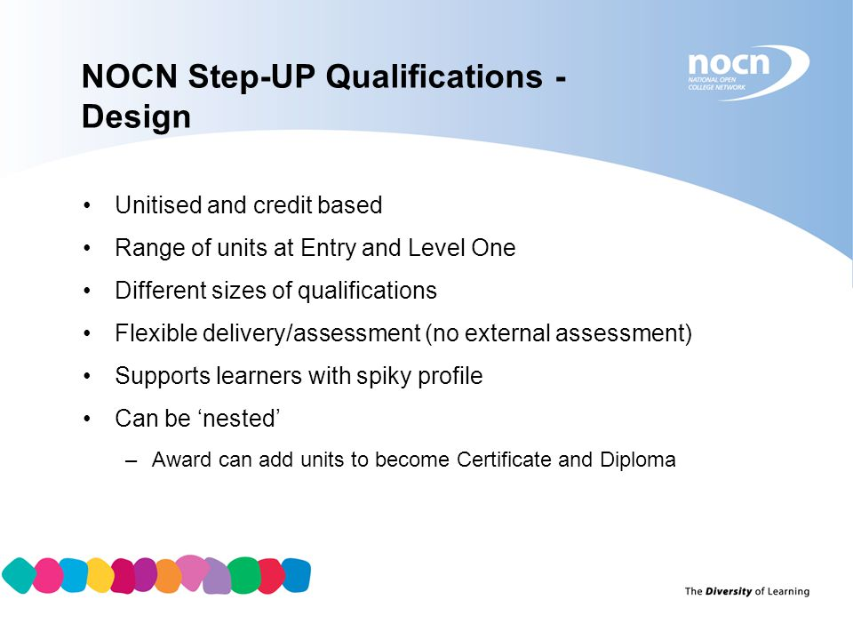 Step-Up Qualification Sizes Qualification TitleTotal credits Min Core credits GLHPerformance Points NOCN Entry Level Award for Skills Towards Enabling Progression (Step-UP) QCF 3-303.5 NOCN Entry Level Certificate for Skills Towards Enabling Progression (Step-UP) QCF 15315014 NOCN Entry Level Diploma for Skills Towards Enabling Progression (Step-UP) QCF 37936028 NOCN Level One Award fr Skills Towards Enabling Progression (Step-UP) QCF 6-5412.5 NOCN Level One Certificate for Skills Towards Enabling Progression (Step-UP) QCF 21618050 NOCN Level One Diploma for Skills Towards Enabling Progression (Step-UP) QCF 399351100