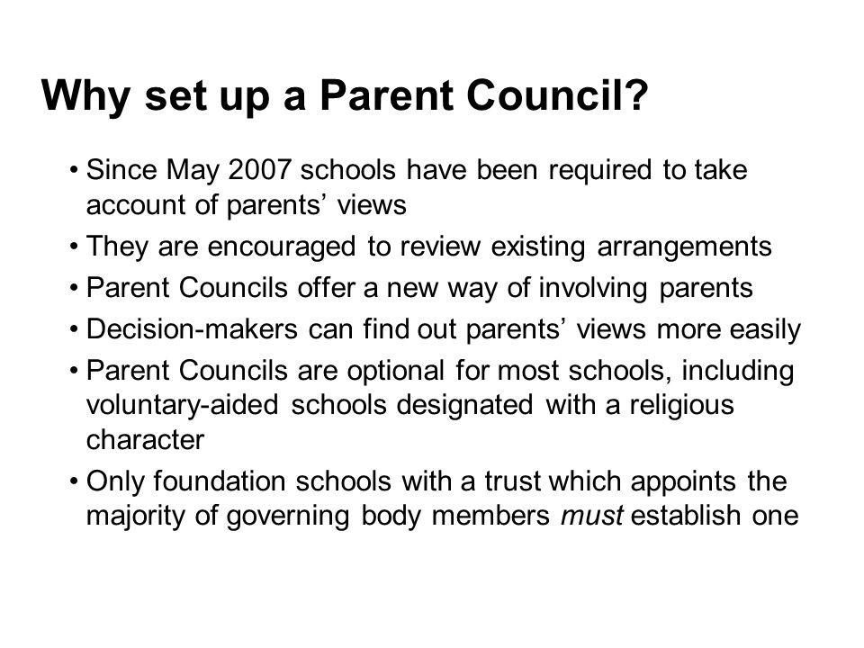 Why set up a Parent Council.