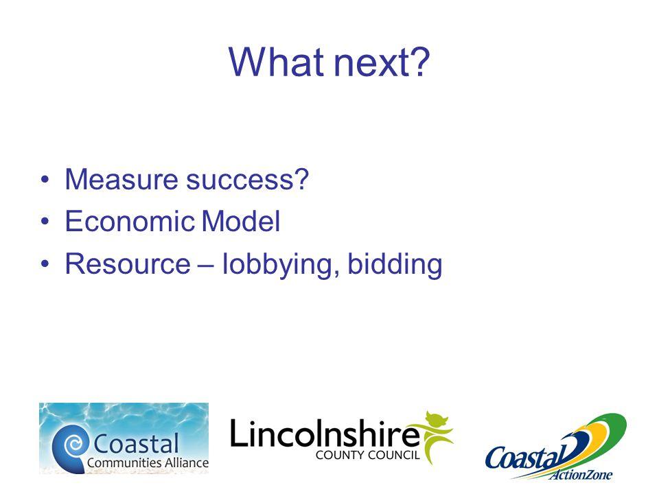 What next Measure success Economic Model Resource – lobbying, bidding