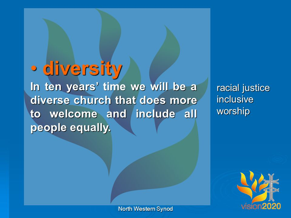 diversity diversity In ten years' time we will be a diverse church that does more to welcome and include all people equally.
