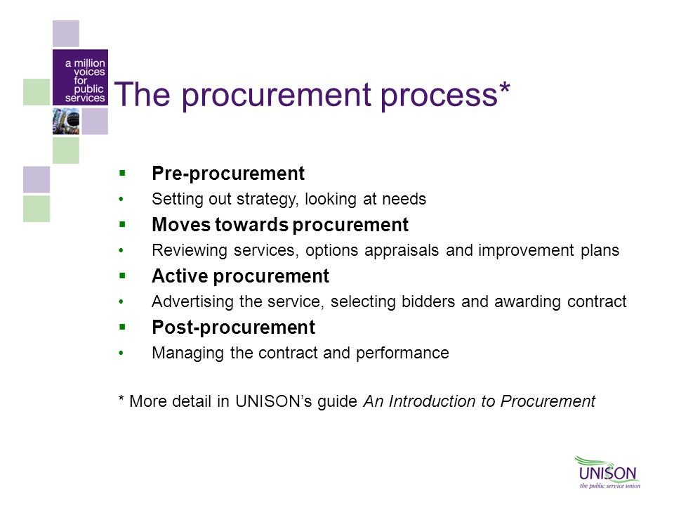 The procurement process*  Pre-procurement Setting out strategy, looking at needs  Moves towards procurement Reviewing services, options appraisals a